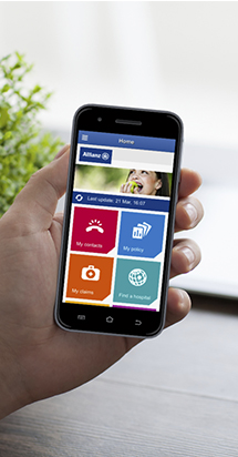 Illustration of an Allianz care mobile app with various features for expats.